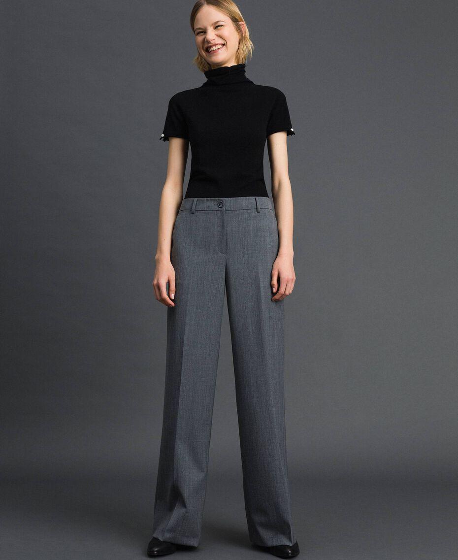 Wide-Leg-Hose aus technischem Wollgewebe Dunkelgrau-Mélange Frau 192TP2351-02