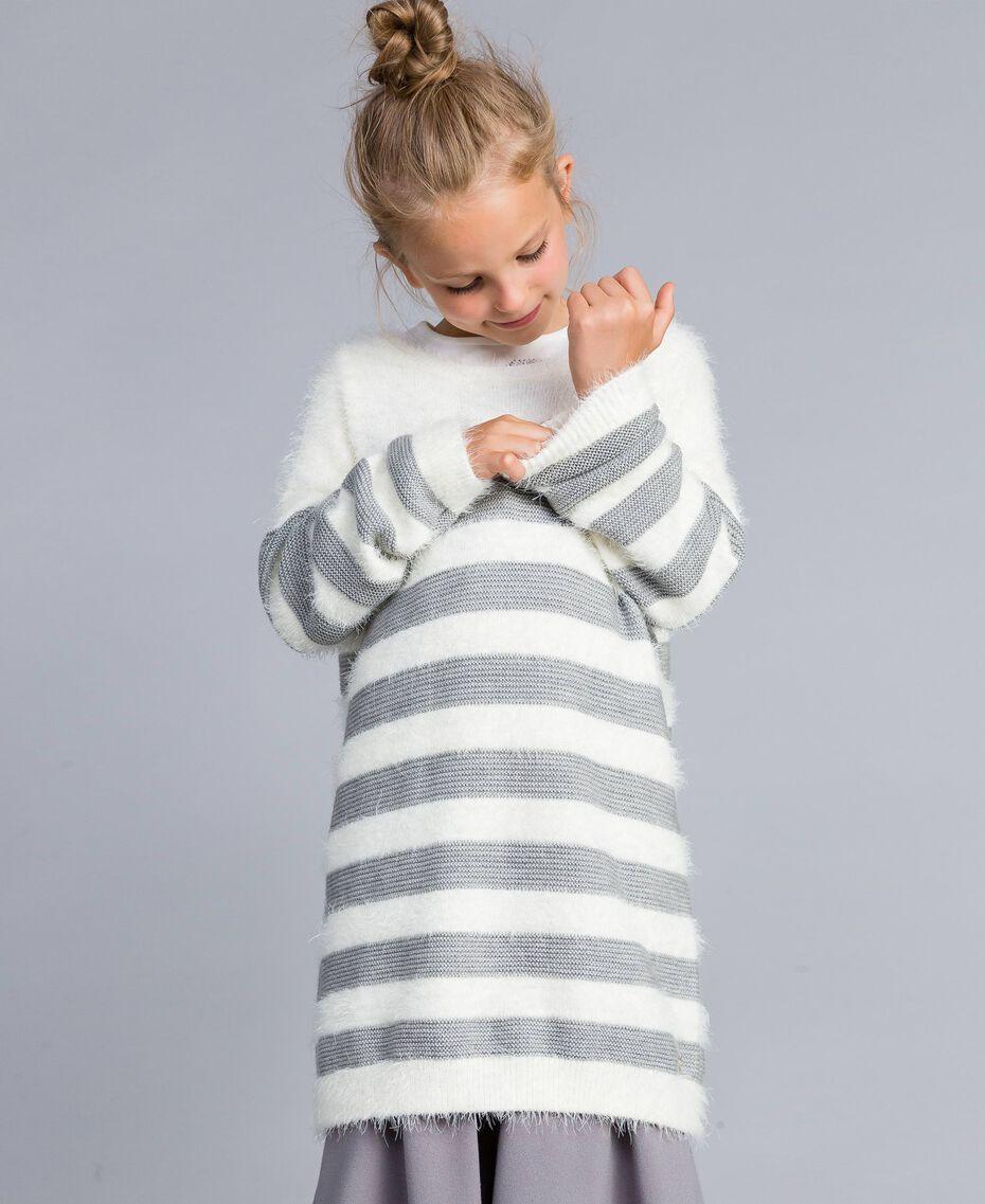 """Maxi maglia in misto lana a righe Bicolor Off White / Grigio """"Grey Stone"""" Bambina GA83E1-0S"""