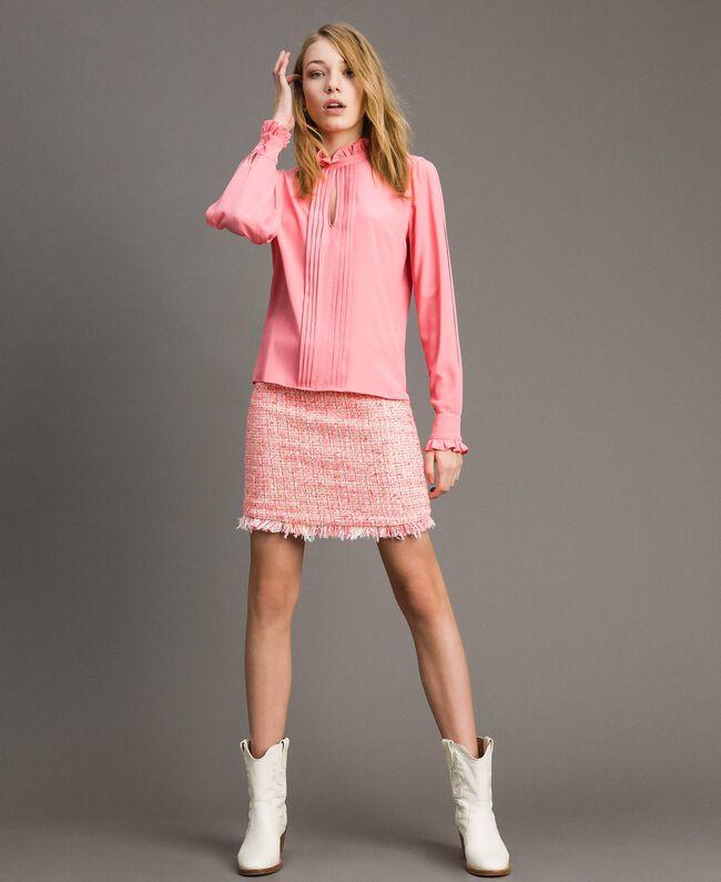 """Rüschen-Bluse aus Seidenmischung """"Wild Rose"""" Pink Frau 191TP2135-01"""
