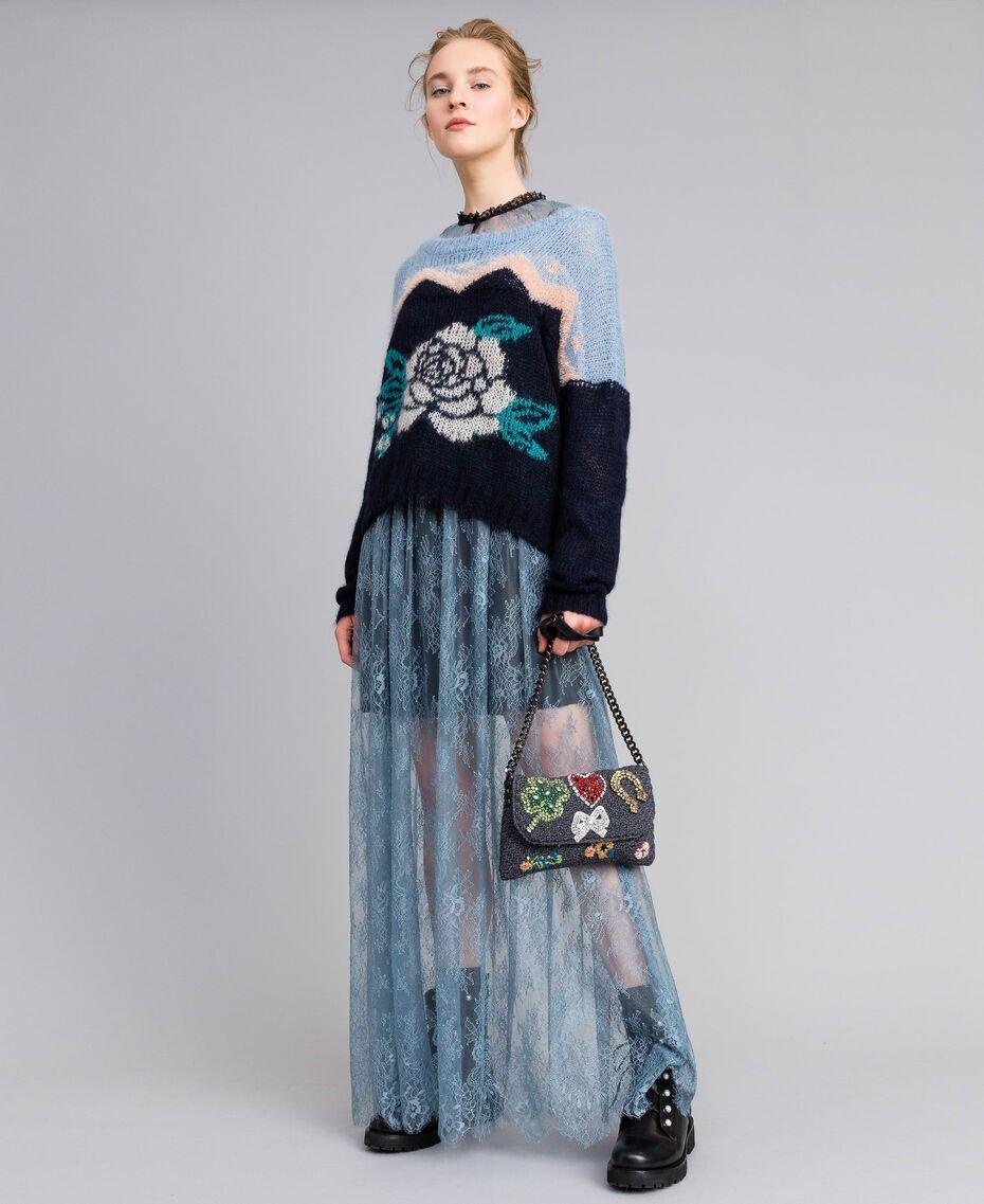 Long Valencienne lace dress Dusty Blue Woman PA82F2-0T
