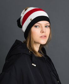 Multi-colour knit beret with pompom Vanilla Stripes Woman 192MA432G-0S