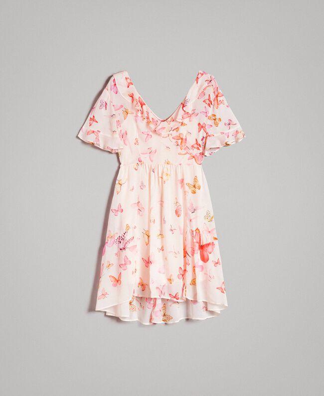Robe en georgette à imprimé papillon Imprimé Papillon Rose Mixte Femme 191TT2394-0S