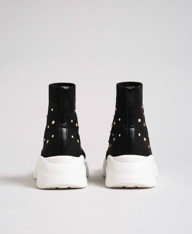 Chaussures de running en maille avec perles Noir Femme 192MCP06C-04