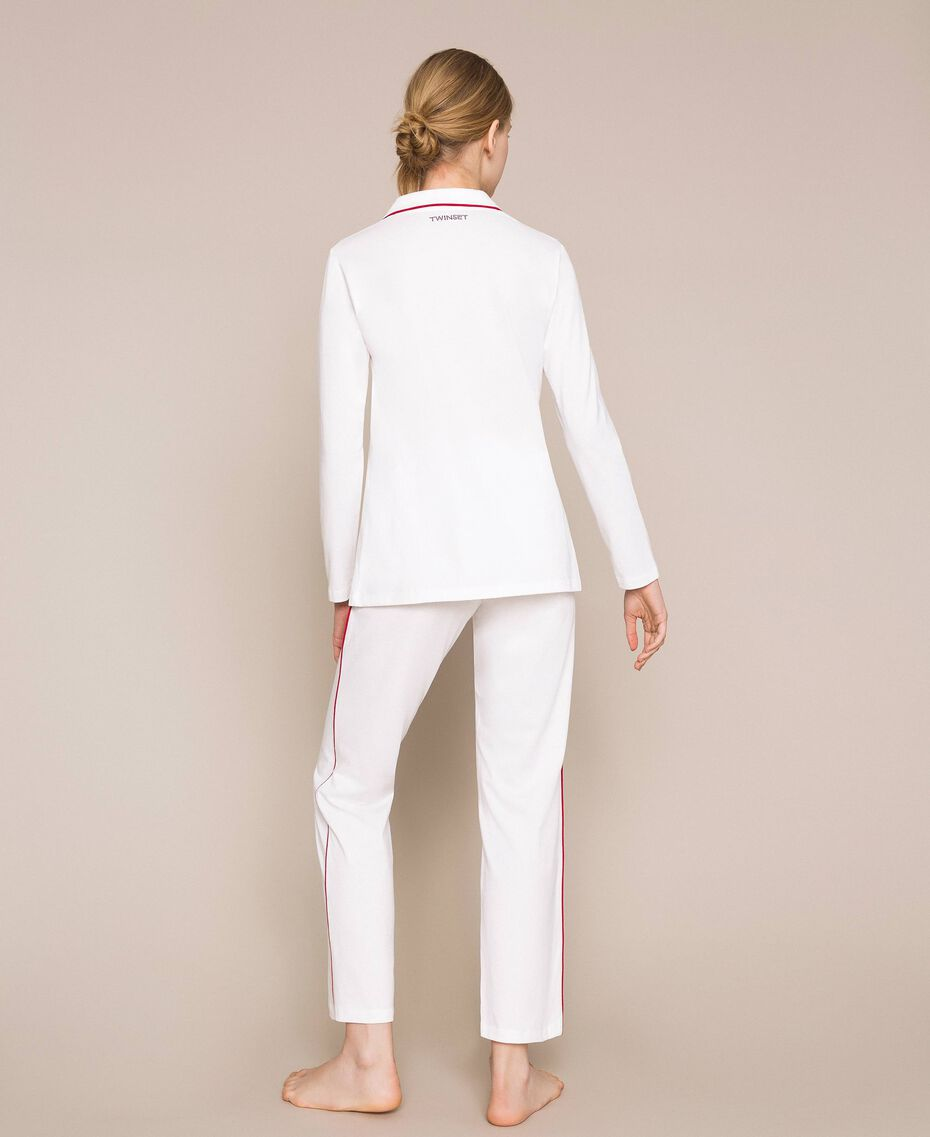 """Pyjamas with contrasting details Two-tone Ivory / """"Pomegranate"""" Red Woman 201LL23DD-03"""