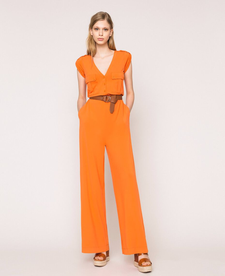 "Jumpsuit with pockets and belt ""Calendula"" Orange Woman 201MT2153-01"