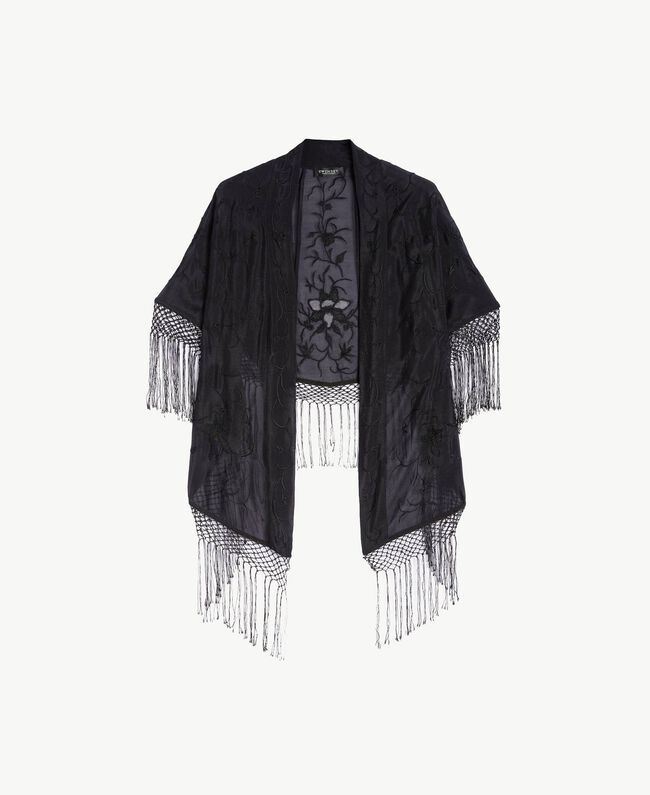Embroidered shawl Black Woman TS82E1-06