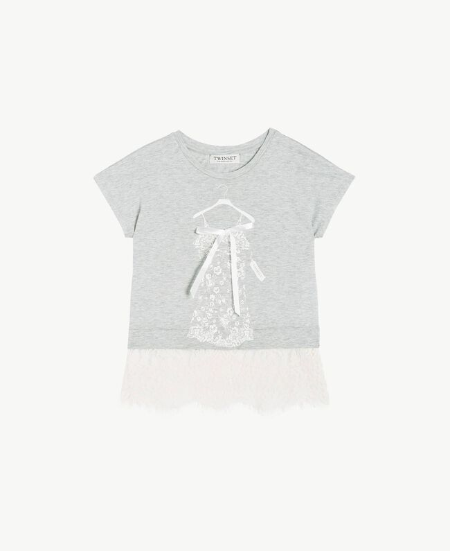 Lace T-shirt Two-tone Mid Melange Grey / Chantilly Child GS82XG-01