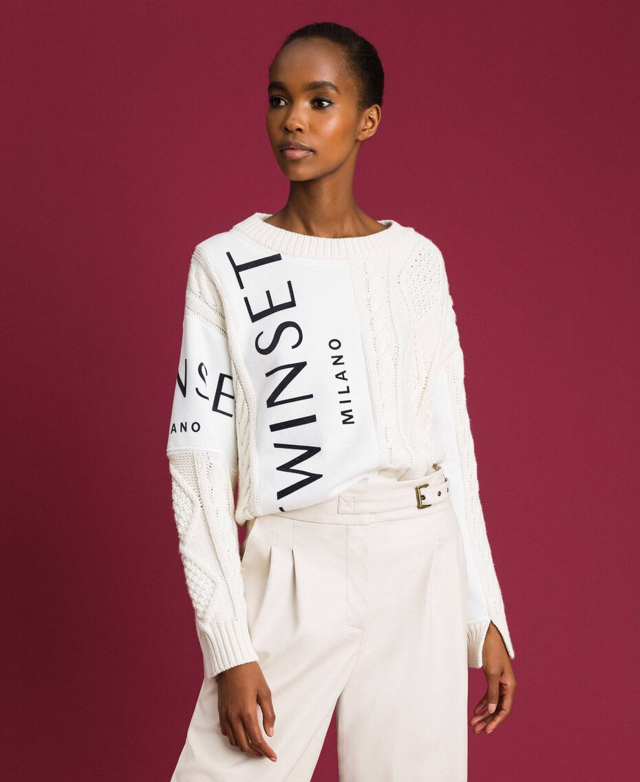 Cable knit jumper with inlays and logo White Snow Woman 192TT3060-05