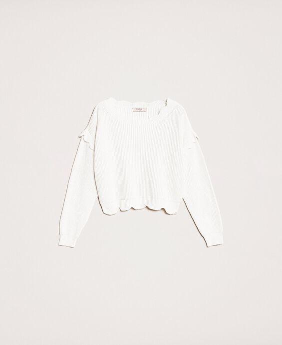 Пуловер квадратного кроя с фестонной отделкой
