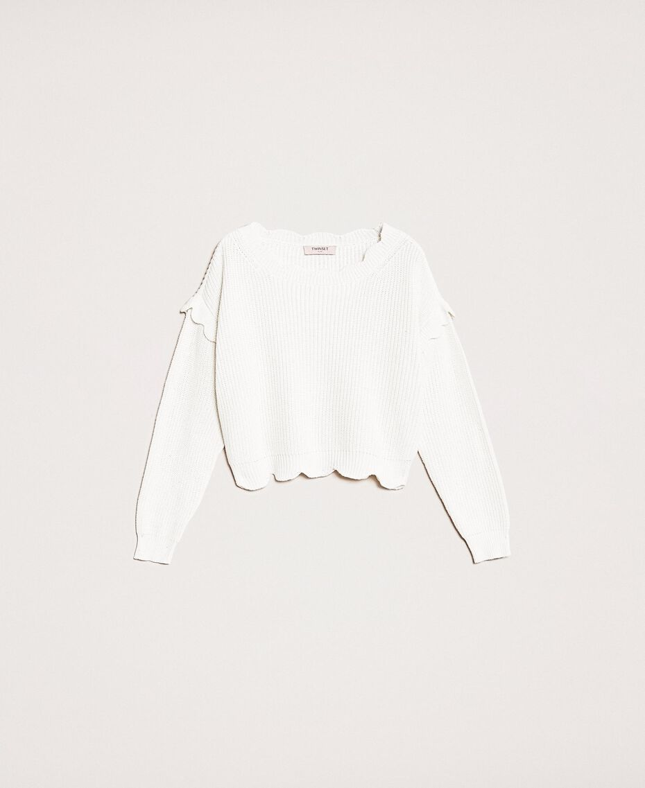 Scalloped boxy jumper White Snow Woman 201TP3021-0S