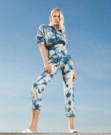 Pantalon taille haute tie & dye Tie Dye Blanc «Neige» / Bleu Femme 211TT2542-01