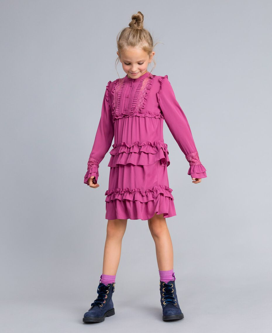 Georgette flounced dress Pink Bouganville Child GA82HA-0S