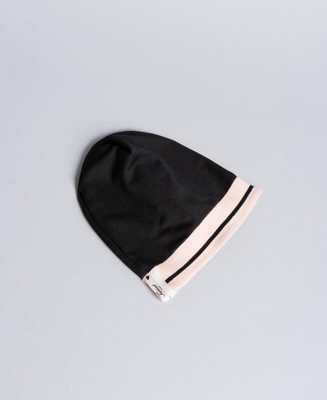 Bonnet oversize en tissu technique Bicolore Noir / Rose «Blush» Enfant GA8HPS-01