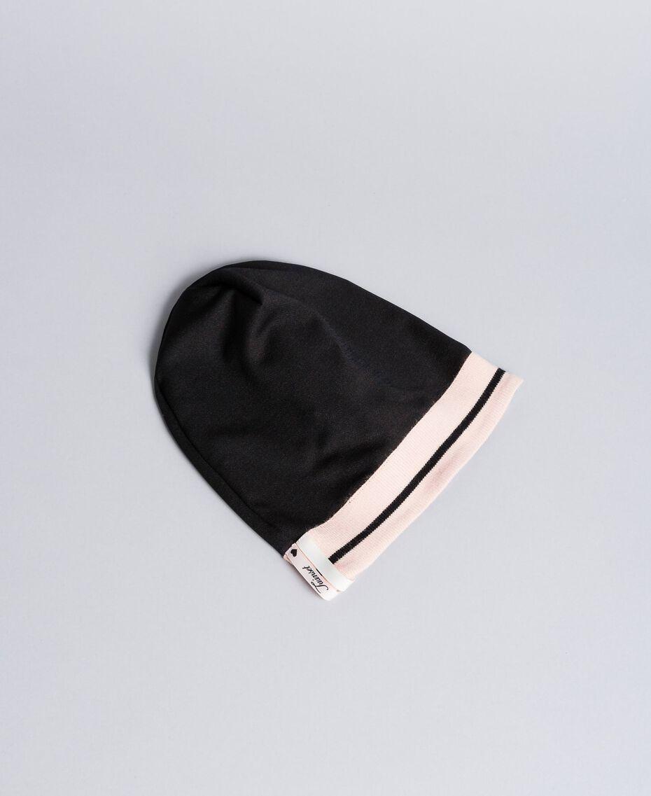 """Объемная шапка из технической ткани Двухцветный Черный / Розовый """"Румянец"""" Pебенок GA8HPS-01"""