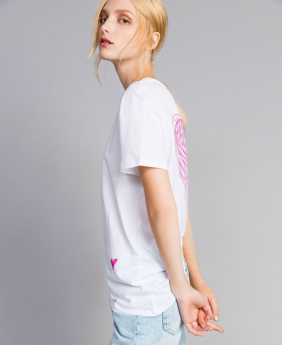 Unisex-T-Shirt für Erwachsene aus Baumwolle mit Print Weiß Frau QA8TMN-02