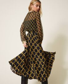 Pleated skirt with chain print Black / Gold Large Chain Print Woman 202TT2212-03