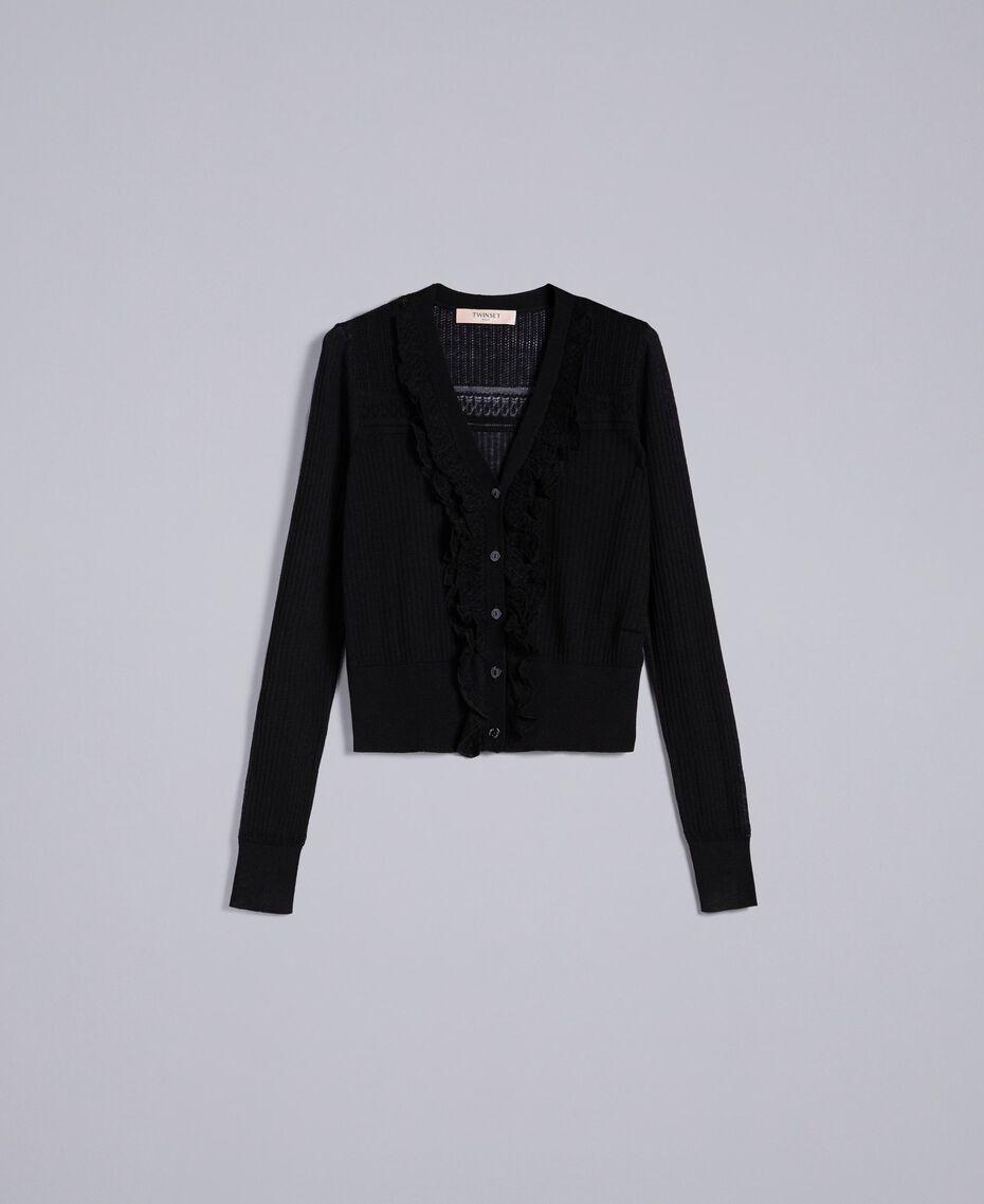 Cardigan en laine mélangée avec mélange de points Noir Femme PA83C2-0S