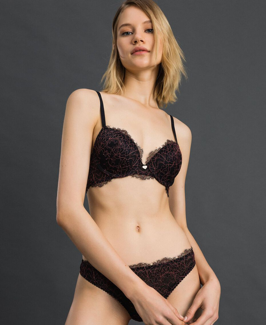 """Lace and tulle G-string Black / """"Dolly"""" Pink Woman 192LI6488-01"""