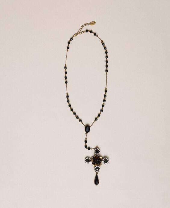 Rosenkranzhalskette mit Kreuz und Anhänger