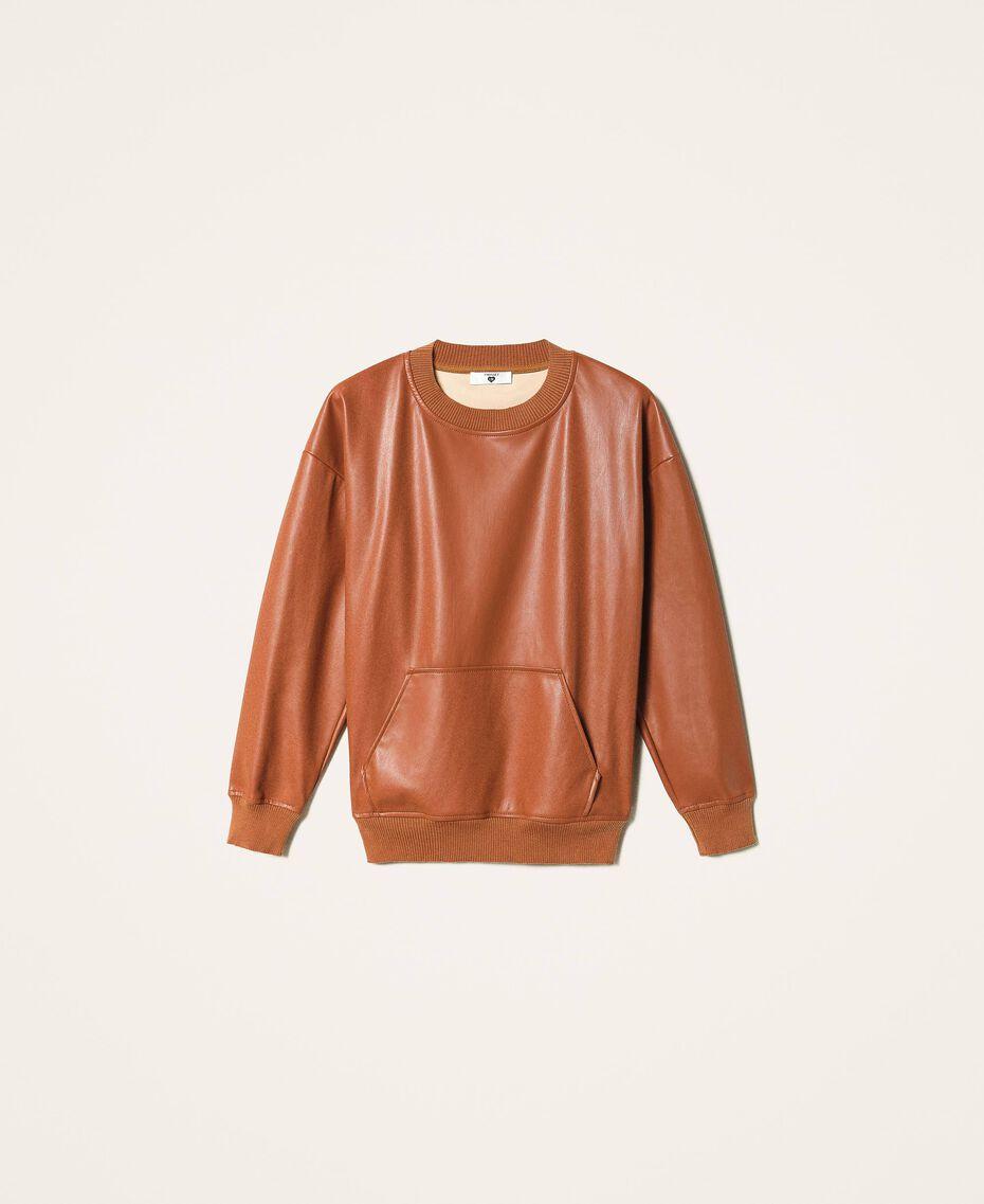 Sweatshirt aus Lederimitat Terrakottarot Frau 202LI2GCC-0S