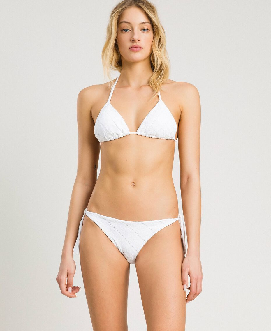 Triangle bikini top with broderie anglaise embroidery White Woman 191LBME22-0S