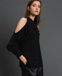 Rüschenhemd aus Crêpe de Chine Schwarz Frau 192TT2432-02