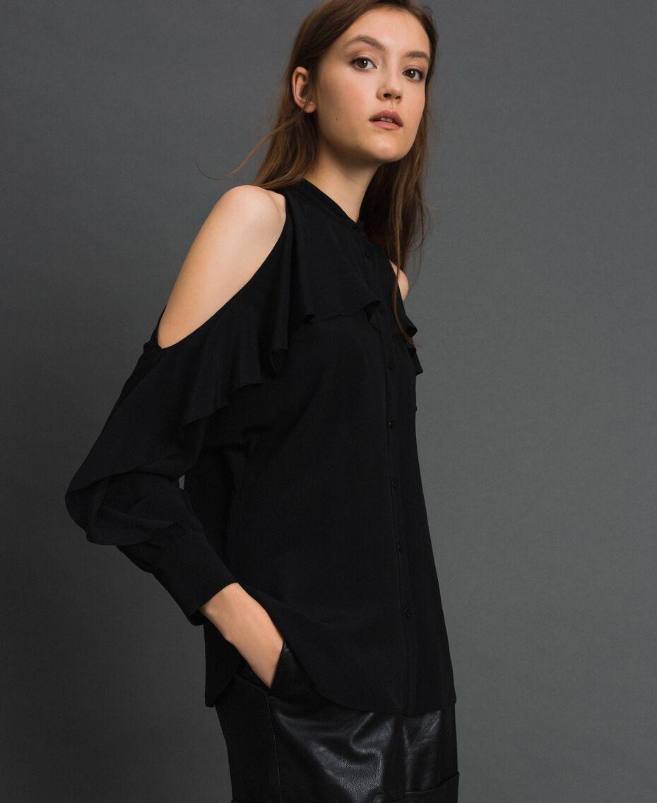 Chemise en crêpe de Chine avec volant Noir Femme 192TT2432-02