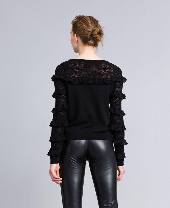 Pull avec empiècement et manches en dentelle Noir Femme PA83CP-03