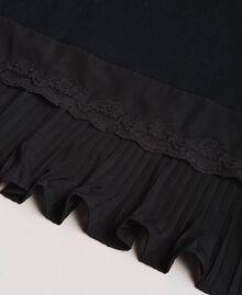 Écharpe plissée en coton mélangé Noir Femme 191TA436C-02
