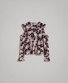 """Floral print georgette blouse """"Pink Bouquet"""" Pink Black Print Woman 191TP2715-0S"""