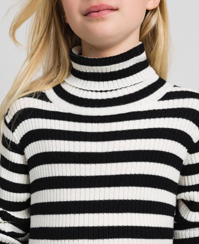 Ribbed mock turtleneck with stripes Ruby Wine Striped Jacquard / Oat Child 192GJ3170-04