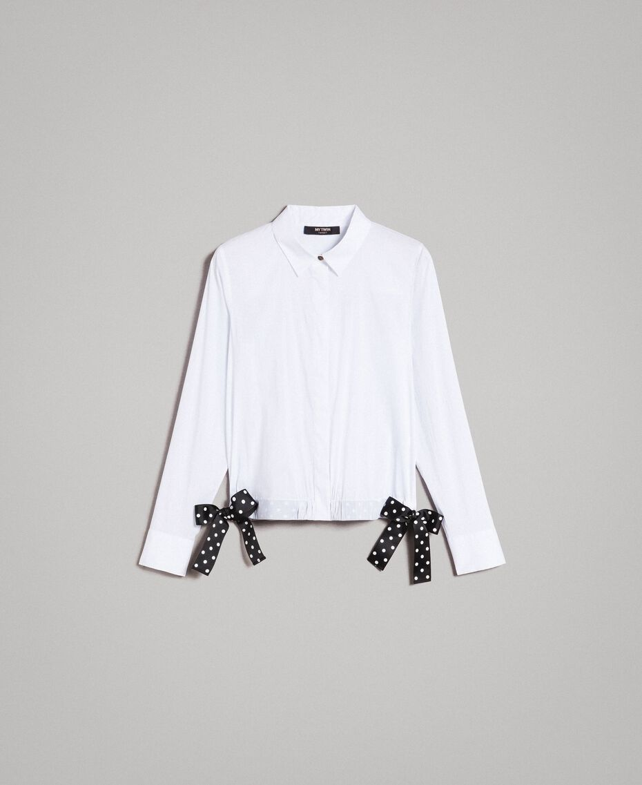 Poplin shirt with drawstring White Cream Woman 191MP2190-0S