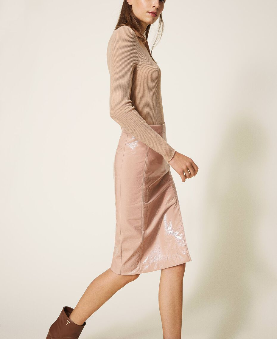 """Faux patent leather skirt """"Nude"""" Beige Woman 202ST2042-02"""