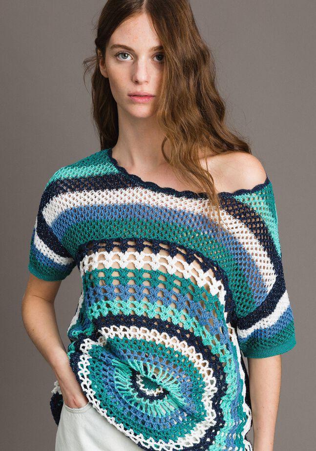 Lurex crochet maxi top