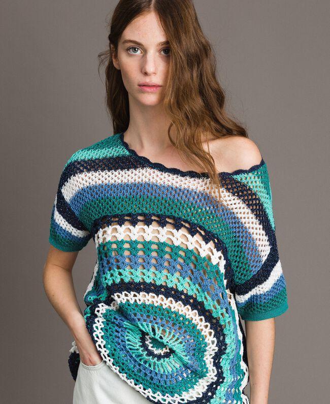 Maxi pull en crochet avec lurex Multicolore Crochet Bleu Nuit Femme 191MT3050-01