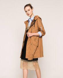 Robe nuisette en satin avec dentelle Bicolore Noir / Beige «Chanvre» Femme 201MP2131-0T