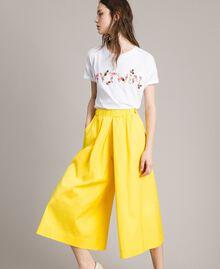 "Pantalones recortados de popelina Amarillo ""Fresia"" Mujer 191MP2212-01"