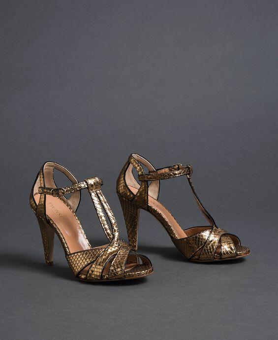 Laminated animal print sandals