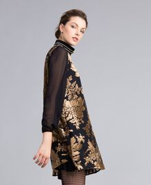 Kurzes Kleid aus Dévoré-Samt Dévoré Kamelbraun Frau PA82M5-02