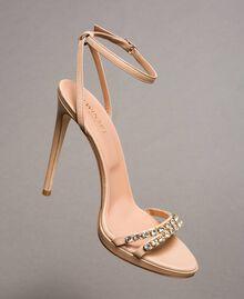 Leder-Sandalen mit Strasssteinen Nudebeige Frau 191TCT012-01