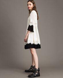 """Georgette dress with lace Bicolour """"Snow"""" White / Black Woman 191TT2102-03"""