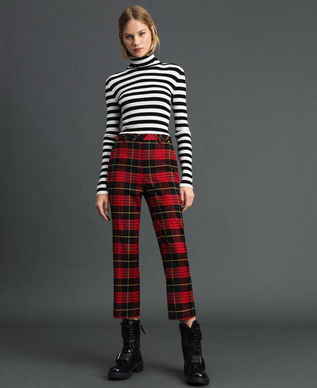 Flared trousers in chequered wool Pomegranate Tartan Jacquard Woman 192TP2623-03