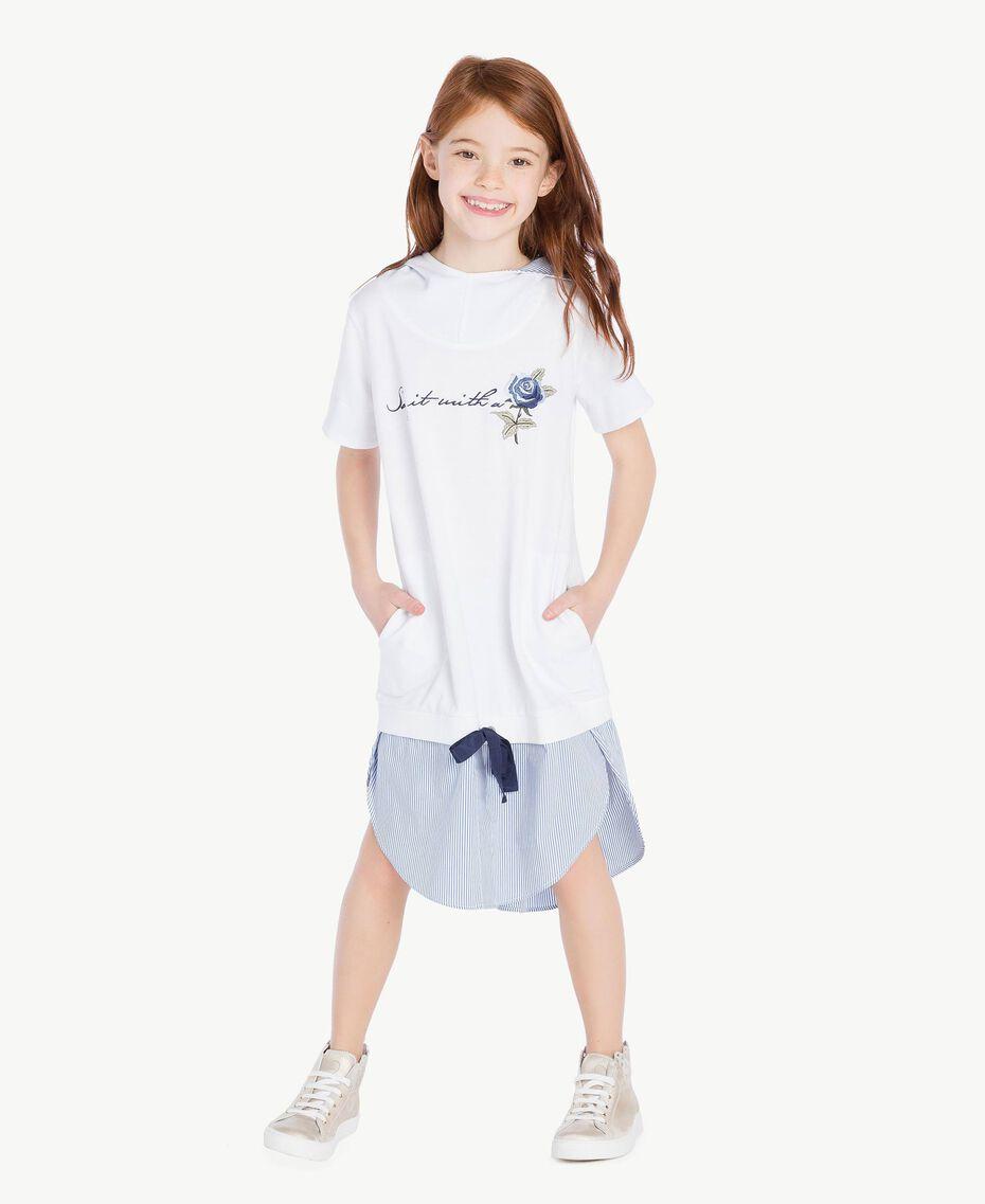 "Embroidered dress ""Papyrus"" White / Light Blue Jacquard Child GS82LN-02"