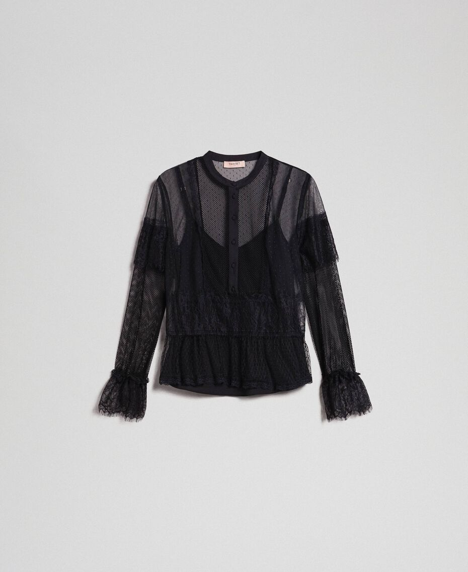 Blouse with tulle, lace and plumetis patch Black Woman 192TP2290-0S