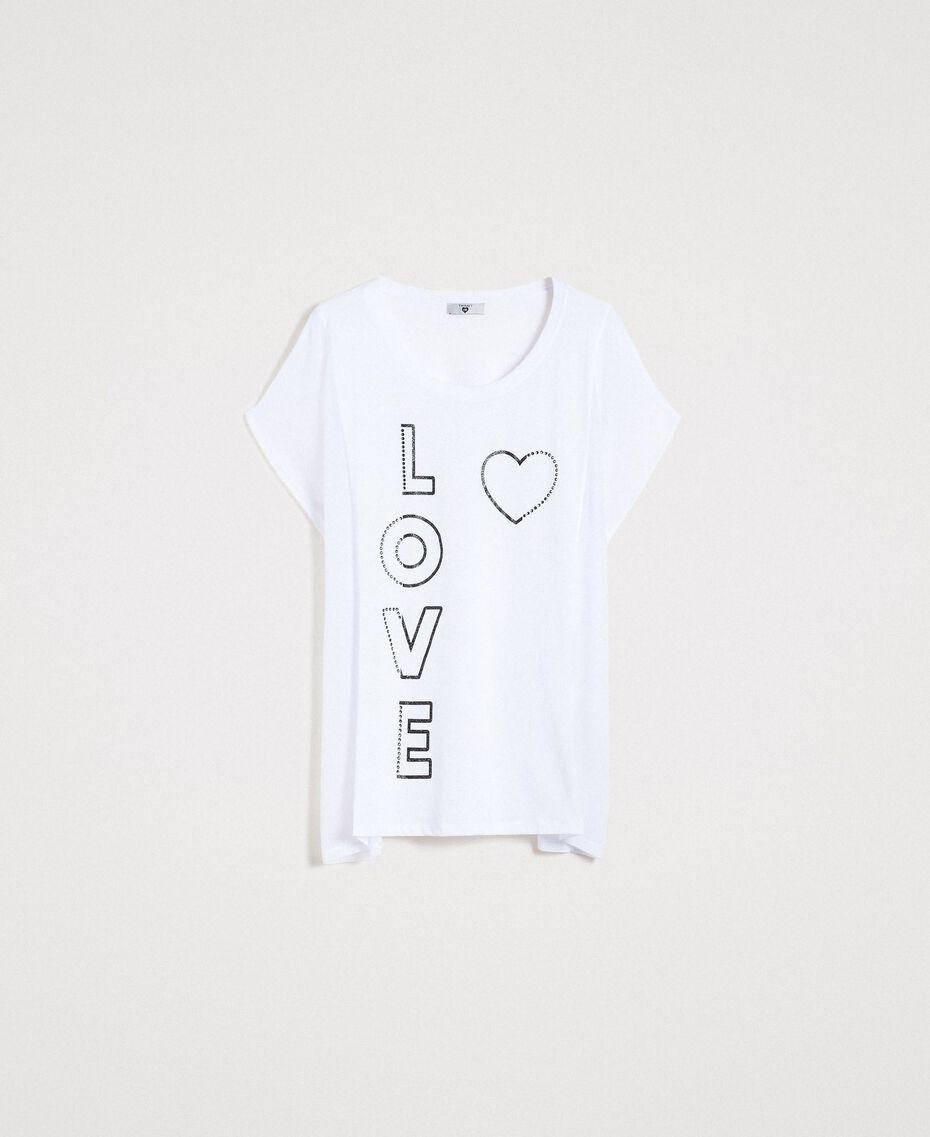 Maxi t-shirt avec imprimé et strass Blanc Femme 191LB23KK-0S