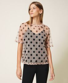 Plumetis tulle blouse with polka dots Nude Beige Polka Dot Print Woman 202ST2062-04