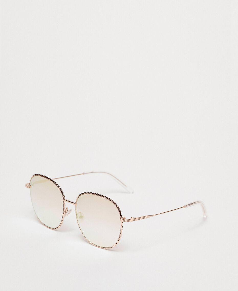 Runde Sonnenbrille Gold Gelb Frau 999TZ4013-01