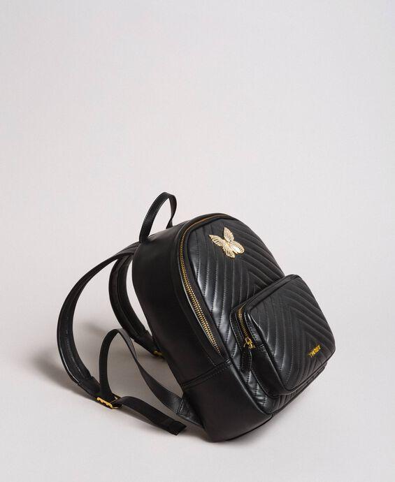 Matelassé leather backpack