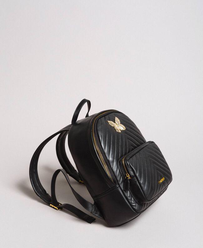 Matelassé-Rucksack aus Leder Schwarz Frau 191TA7192-01