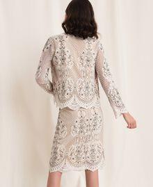 Jacke aus Spitze mit Stickereien Elfenbein Frau 201TP2460-03